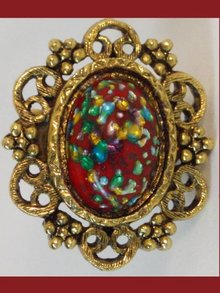 Vintage DECO Dragon EGG RED Fancy RING