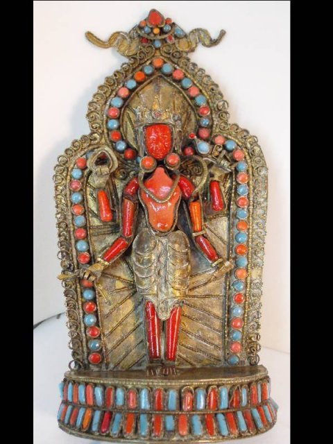 Mystical antique Antique coral turquoise Snake Goddess altar Buddhist bodhisattva Tara from Nepal in her red manifestation