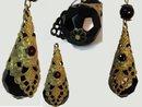 UNUSUAL BEAUTIFUL Czech Jet  GARNET earrings