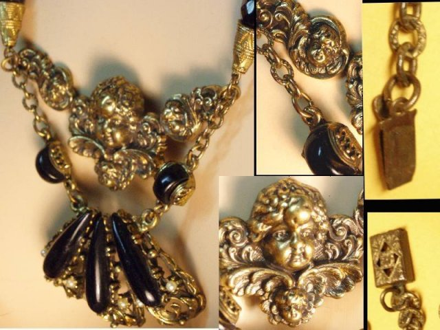 Vintage Cherub Mourning Fancy necklace & RING