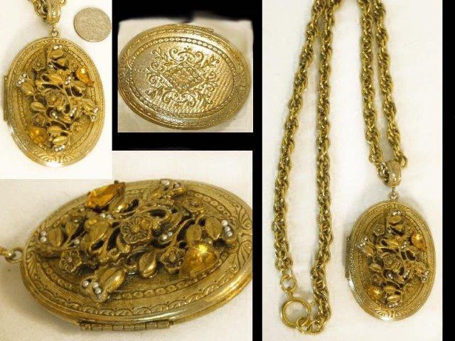 VIntage fancy Edwardian jeweled Locket necklace
