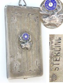 Antique sterling enamel chatelaine  card case