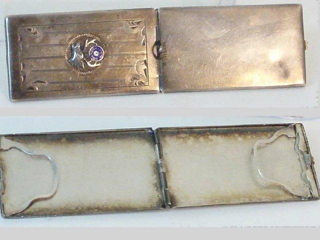 Antique sterling enamel chatelaine  card case