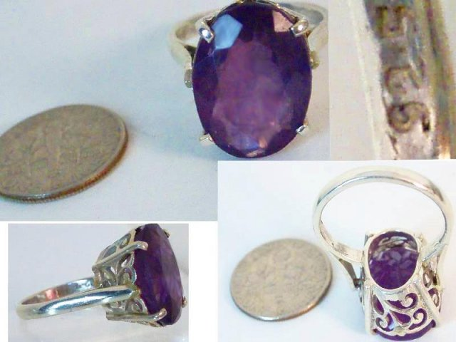 18CT HUGE Amethyst deco setting RING WOW!!