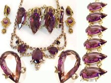 HUGE Juliana PURPLE GLASS BRacelet necklace