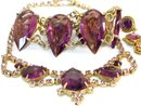 Vintage Purple statement bracelet / glass rhinestone necklace / amethyst color clip on earrings / gold demi parure / bib necklace
