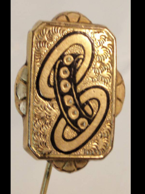 Vintage Victorian enamel buckle fancy stickpin