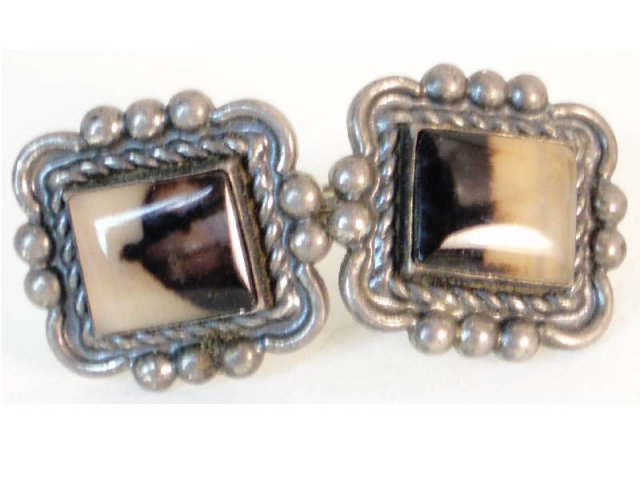 Victorian sterling Picture agate  earrings