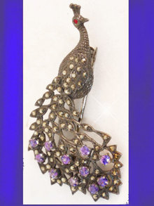 Sparkling  Sterling DECO Peacock Brooch