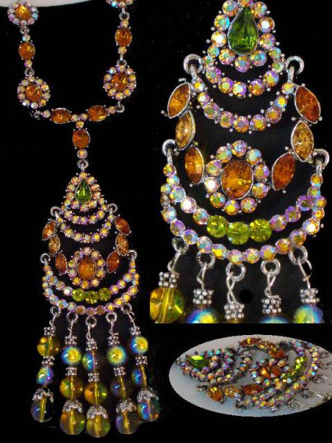 Dazzling Bohemian Gypsy Necklace Gothic renaissance jewel chandelier earrings
