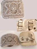 Antique FRENCH Steel cut microbead BUCKLES
