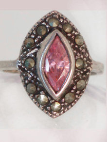 Victorian Style Pink Topaz Marcasite fancy ring