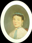 French Victorian oil Girl portrait painting OLD
