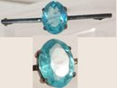 Edwardian sterling blue topaz Sash pin collar