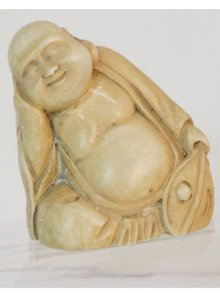 Vintage carved IVORY BUDDHA with fan NEtsuke
