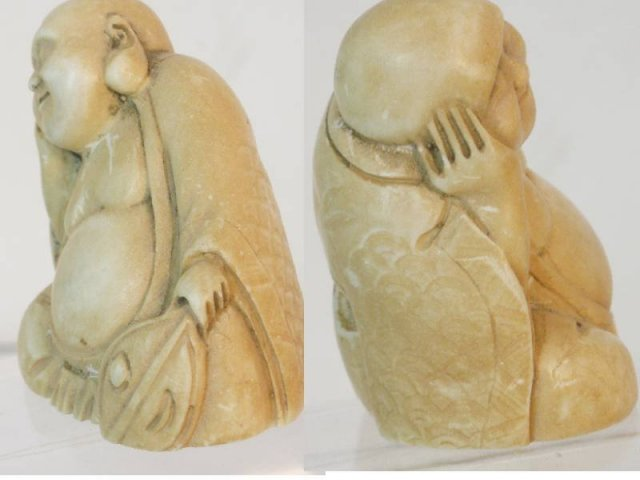 Vintage carved IVORY BUDDHA with fan NEtsuke