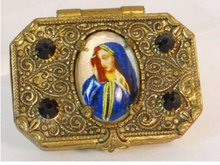 ANtique Czech POrtrait gilt  box and rosary