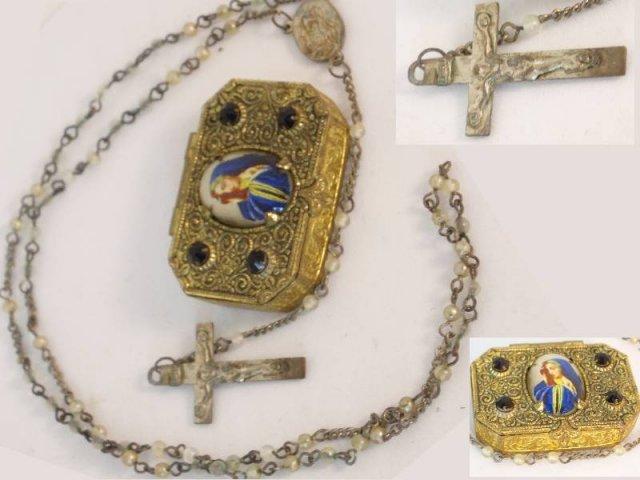 ANtique Czech POrtrait gilt  box and rosary