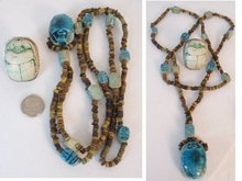 Vintage HUGE Egyptian scarab LONG Necklace