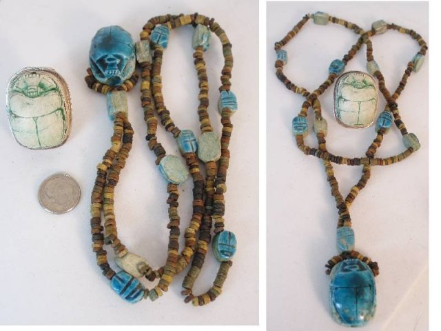 Vintage HUGE Egyptian scarab LONG Necklace