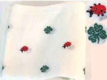 Vintage Ladybug 4 leaf clover GOOD LUCK Handkerchief hankie
