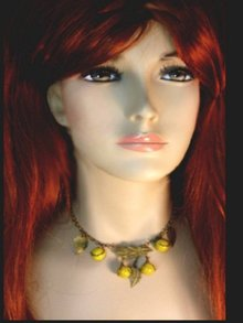 Deco vintage venetian feather glass necklace