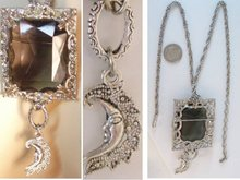 Vintage HUGE Smoky topaz glass necklace MOON