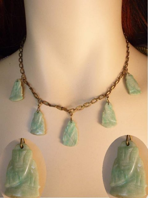 VIntage Jade carved 5 Buddha drop necklace