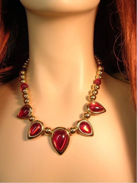 Rich Red Signed ornate necklace with orig tag $45