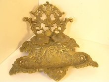 Antique double victorian brass SIGNED inkwell