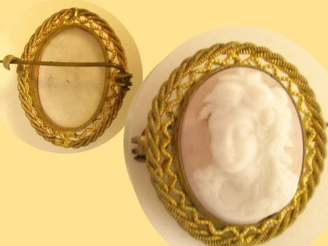 VIntage Pink Czech Cameo Set in gilt brooch
