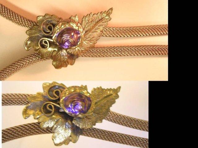 Vintage Edwardian Snake mesh slide necklace