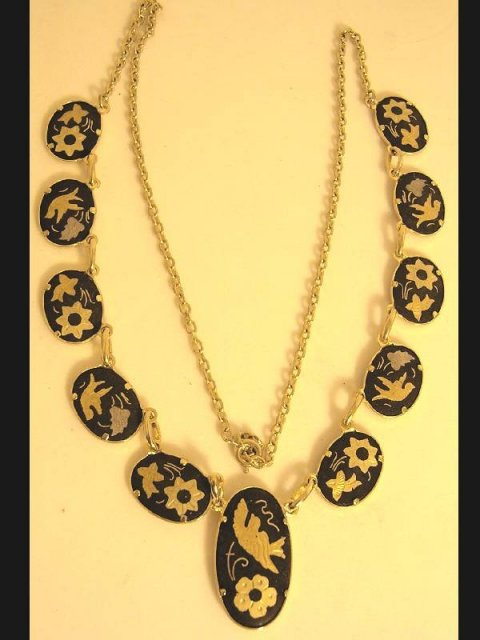 Vintage Exotic Japanese bird festoon necklace Victorian Mourning bird choker Black gold damascene jewelry