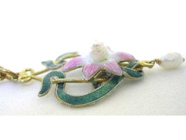 Vintage enamel Art NOUVEAU pearl lavalier