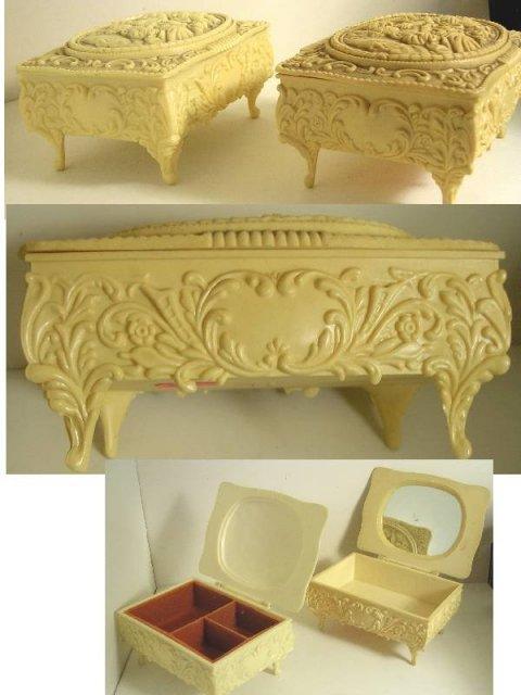 Pair Vintage Victorian Ivorine footed boxes
