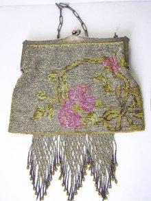 Antique  French cut steel  Fringe Rose purse