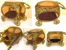 Antique Amber glass Queen's CARRIAGE casket