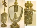 Huge antique Ormolu Perfume bottle Footed bottom beveled glass Art nouveau