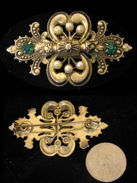 VIntage jeweled Victorian Fleur de lis brooch