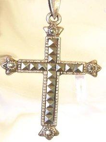 Elegant sterling Gothic Marcasite Cross