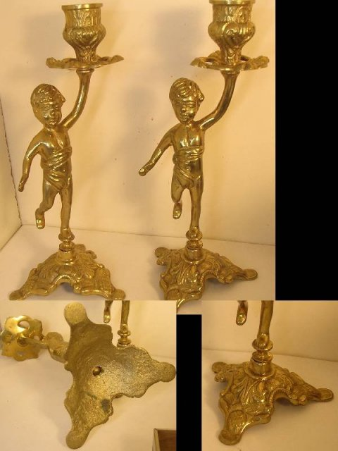 Pair Victorian Cherub fancy brass candlesticks