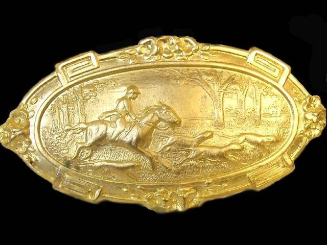 Victorian Figural Russian gold plate  sash pin