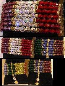 Wide Ethereal Chakra Glass  7 strand bracelet