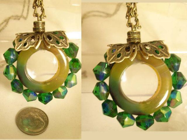 Fancy THird EYE Magnifier Long NEcklace PEacock