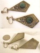 Antique snake earrings Vintage jade Chinese Chimera snake