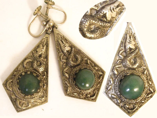 Antique snake earrings Vintage jade Chinese Chimera snake