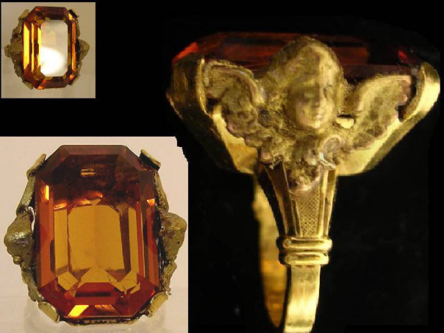 HUGE VIntage gold filled Cherub golden ring