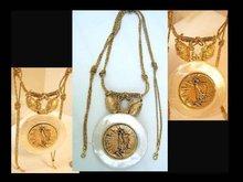 Nouveau HUGE Mother pearl Nude angel Golden jeweled Necklace OOAK