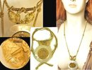 Nouveau HUGE Mother pearl Nude angel Golden jeweled Necklace OOAK