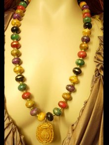 LONG Egyptian dancing goddesses pottery vase pendant gold dipped beaded Necklace